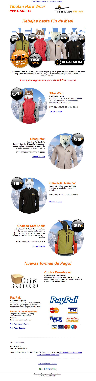 Newsletter Tibetan diseño paginas web zaragoza