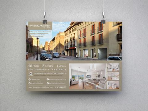 Imagen Corporativa Zaragoza. Diseño gráfico. Dípticos. Trípticos. Catálogos. Papelería. Tarjetas. Packaging. Logotipo Pisos casco Histórico. Zaragoza.