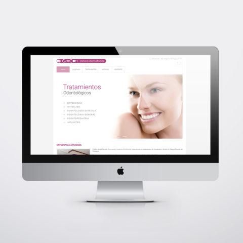 Diseño páginas web en Zaragoza. Intermedio 2.0. Diseño página web Clínica Dental Garcon. Posicionamiento web en buscadores. Google.