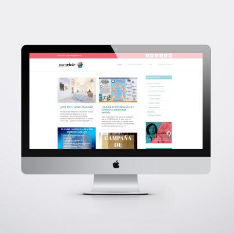 Diseño páginas web en Zaragoza. Intermedio 2.0. Diseño página web Para Vivir Inmobiliaria. Posicionamiento web en buscadores. Google.